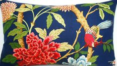 Cushion Cover GP Baker Fabric Hydrangea Bird Cotton | eBay
