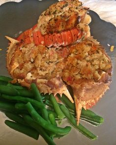 lobster and stuffed crab with steamed green beans