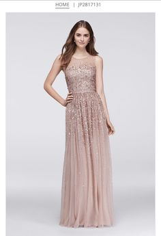#rosegold #bridesmaid #davidsbridal http://www.davidsbridal.com/Product_scattered-sequin-illusion-bodice-tulle-gown-jp2817131
