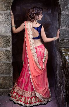 Navy blue and orange #lehenga