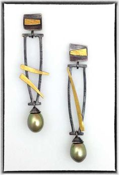 Earrings, gold & silver w/ green pearls Elaine Rader