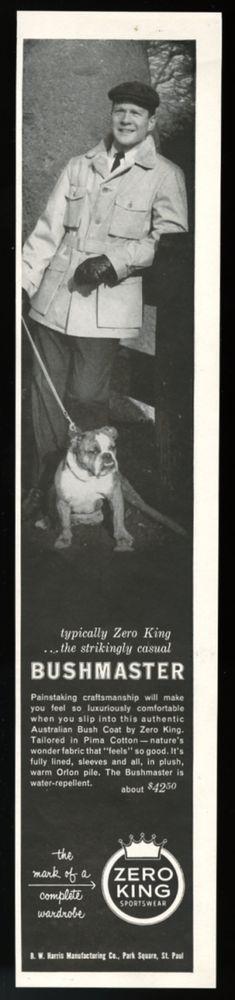 1956 bulldog photo Zero King Bushmaster men's coat vintage print ad