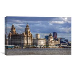 Canvas print of a h d r image of the view from the river mersey ferry snowdrop formerley the m v woodchurch that was launched in 1959 and renamed snowdrop the image contains the three graces port of liverpool liver buildings,and cunard buildings Liverpool City, R Image, Art For Sale, New York Skyline, Art Pieces, Louvre, Canvas Prints, River, Building