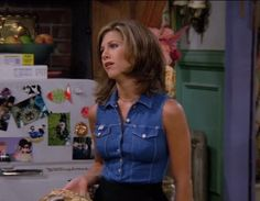 "A denim waistcoat | 20 Things Rachel Wore In ""Friends"" That You'd Definitely Wear Now"