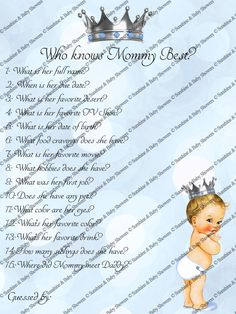 #babyshowergames #babyshowerideas Baby Shower Games,who knows mom best, prince,Boy,Baby Shower Ideas,Printable,Mummy,Mommy,prince baby shower,little prince,Baby Shower by SunshineBabyShowers on Etsy