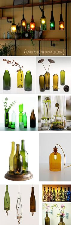 If you think glass bottles like wine and other beverage bottles are just one-time using, you are misguided. Glass bottles -especially long ones-are great materials for your DIY projects. Due to their strong and . Glass Bottle Crafts, Wine Bottle Art, Diy Bottle, Recycled Bottles, Bottles And Jars, Glass Bottles, Wine Bottles Decor, Recycle Wine Bottles, Empty Bottles