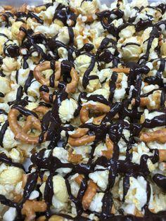 Milk chocolate peanut butter pretzel gourmet popcorn White Chocolate Popcorn, Chocolate Cherry, Chocolate Peanut Butter, Peanut Butter Popcorn, Gourmet Popcorn, Snack Recipes, Snacks, Milk, Breakfast