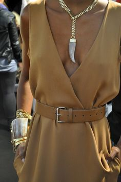 belted dress - gold necklace