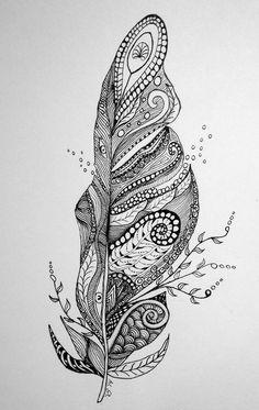 Art, doodle, feather, zentangle and zen tangle doodle inspiration, paisley Mandala Art, Mandala Drawing, Paisley Drawing, Paisley Doodle, Feather Drawing, Feather Art, Feather Tattoos, Mandala Feather, Zentangle Drawings