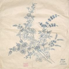 Vintage Boynton embroidery transfer - large mixed summer flower spray