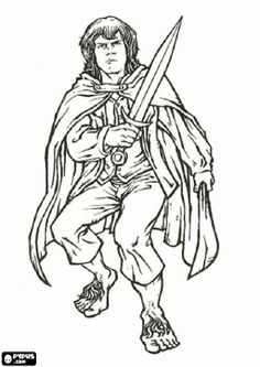 the hobbit merry meriadoc brandybuck one of the best friends of frodo coloring page