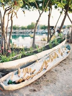 Destination Wedding Ideas with PJ. Include a Canoe bar! We love this! Add ice, beverages of your choice! Beer at one end, juice at the other, middle liquor and mixers. We've also done this with a bathtub! Seriously. www.destinationweddings.travel #allweddingsallowed #allcouplesallowed #allbridesallowed