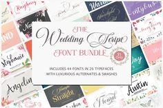 The wedding Script Font Bundle #weddings #calligraphy #cursive