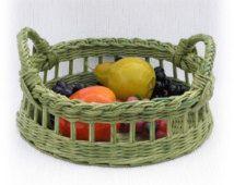 Wicker round tray, green
