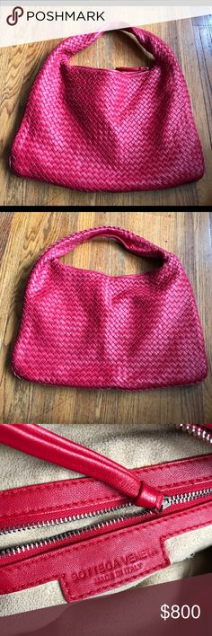 Bottega Veneta Intercciato Nappa Red Leather Purse Bottega Veneta Large Intercciato Nappa Red Leather Handbag in excellent condition. Please examine all photos - there are couple of very tiny flaws on the handle and some very light wear by the zipper and that's about it. Measures approximately 19 1/2 inches wide by 12 inches high. The amount of work that goes into these is insane. And the interior is lined in the softest suede you'll ever feel! Very soft lambskin leather on exterior, too. A…