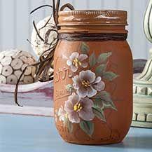 Donna dewberry uses folkart chalk on a mason jar painted mason jars, 메이슨자 초 Pot Mason, Mason Jar Crafts, Bottle Painting, Bottle Art, Bottles And Jars, Glass Jars, Donna Dewberry Painting, Diy Hanging Shelves, Painted Mason Jars