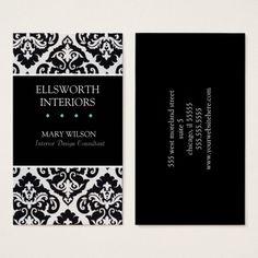 Black and White Damask Interior Design Profile Business Card