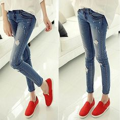 2016 Blue During Waist Jeans Woman Skinny Holes Jeans For Women Boyfriend  Jeans For Women Elastic Blue Ripped Jeans Plus Size b4f7b61f296f