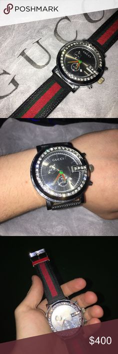 Gucci G-Chrono 0.15K diamonds all around Red, Green and Black strap with tan leather on the back. 0.15k diamonds all around the Edge. I'm selling this on EBay also. Gucci Accessories Watches
