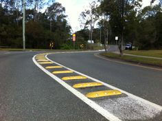 Logan City Council using Rumble Bars, or Pavement Bars to warn of an upcoming tight curve. Available in lengths of or in White or Yellow, perfect for lane dividers, bike lanes, hazard markers and speed deterrents. Logan City, Bolts And Washers, Native Country, City Council, Bicycle Design, Pavement, Australia, Bar, Dividers