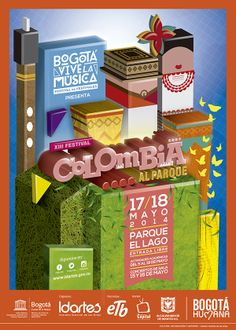 Afiche XIII Festival Colombia al Parque. Bogotá Vive la Música. Diseño: Cristian Hernández. Bogotá, 2014.