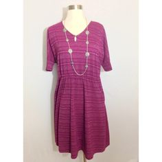 Sonoma  Casual Dress Adorable easy breezy summer dress. Maroon color with silver metallic stripes. 36 inches long. Non smoking environment. Necklace display only. No rips or stains. Worn a couple times. Nice condition Sonoma Dresses