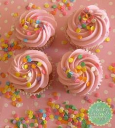 Pink Cupcakes with Sprinkles.  I made these using Billy's Bakery's Buttercream and Cupcake recipe.  These are perfect for a little girl's birthday party or a girls night.