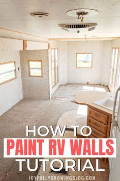 She shares her exact process for painting interior RV walls, ceiling and cabinets. The super easy step by step tutorial for how to paint RV walls is amazing! Pinning these RV paint and remodel ideas for later! rv remodel How to Paint RV Walls Camper Interior, Diy Camper, Interior Walls, Interior Painting Ideas, Trailer Interior, Paint Rv, Paint Walls, Rv Redo, Rv Homes