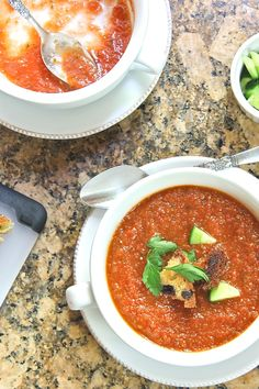 Spicy gazpacho made with tomatoes, tomatillos, cucumbers, and Serrano chili. Get recipe on http://thewimpyvegetarian.com blog.