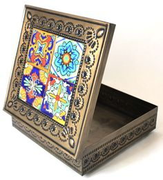 Hand Made Mexican Decorative Tin Jewelry Box w/ Tiles