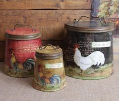 Shabby Country Chic Rooster Tin Canister Set Home Decor: Home & Kitchen