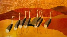 Custom Made Marquetry Landscape , Japanese Cranes