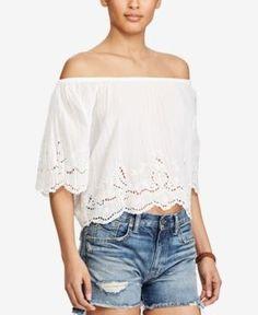 Polo Ralph Lauren Off-The-Shoulder Cotton Top - Pure White XL