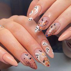 Holloween Nails, Halloween Acrylic Nails, Cute Halloween Nails, Fall Acrylic Nails, Halloween Nail Designs, Fall Nail Designs, Acrylic Nail Designs, Autumn Nails, Scary Halloween