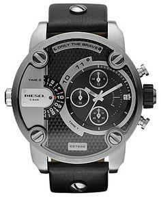 Diesel Chronograph Black Leather Strap