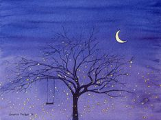 """""""Fireflies And Moon Painting"""" - by Sharon Farber Firefly Painting, Firefly Art, Moon Painting, Light Painting, Painting & Drawing, Firefly Serenity, Wine And Canvas, Canvas Art, Canvas Prints"""