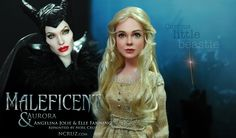 Curious little beastie... Noel Cruz of ncruz.com has repainted and restyled a third Maleficent-this time from the battle scene of the film and Elle Fanning as Aurora from the coronation scene. Currently up for auction on eBay visit ncruz.com for ebay link. Graphics and web site by stevemckinnis.com