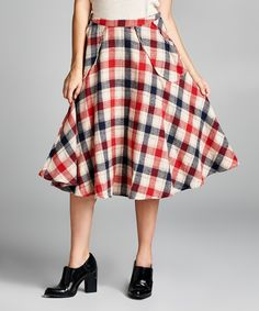 This April Spirit Red Plaid A-Line Skirt by April Spirit is perfect! #zulilyfinds