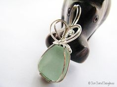 English Sea Glass Necklace Pale Green Sea Glass by SunSandSeaglass