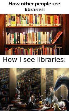 Eine Bücherrei ist der eingang in andere welten  <<< omg I understood this hahaha... anyway, agree
