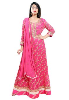 Viscose Georgette Abaya Style Kameez in Fuchsia This Readymade Outfit is Traditionally Hand Embroidered with Gota Patti and Patch Border Work and is Crafted in Round Neck and Full Sleeves Available with a Art Bhagalpuri Silk Churidar and a Faux Chiffon Dupatta in Fuchsia The Lengths of the Kameez and Bottom are 55 inches respectively Do note: Accessories shown in the image are for presentation purposes only.(Slight variation in actual color vs. image is possible).