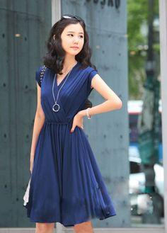V-Neck Cap Sleeve Pleated Short Dress