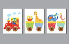Kids Wall Art- animal train- Nursery Decor via Etsy