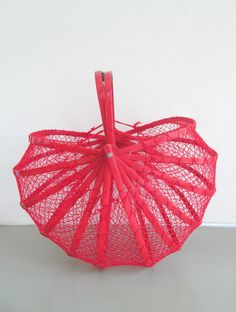 Vintage Collapsible Foldable Basket Red Bamboo by looseendsvintage, $39.00