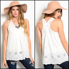 "✨ Host Pick✨ White Sleeveless Woven Top Sleeveless woven top features eyelet detail and scooped neckline.  Comfy, flowy fit. Additional details:   Color:  White  Fabric: 100% cotton  Sizes: Small  Bust (across laid flat): S-17""  Length: 28""  Condition: New without sales tags Tops"