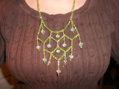 Green Swarovski netting necklace. Free Shipping by Purrwoof, $30.95
