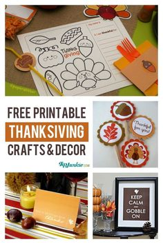 12 Free Printable Thanksgiving Crafts  {instant download}