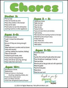 Chore Charts for Kids of All Ages - Chores and Schedules for kids - Baby Food Chore Chart By Age, Weekly Chore Charts, Free Printable Chore Charts, Chore Chart Kids, Free Printables, Chore List, 8 Year Old Chores, Chores For Kids By Age, Responsibility Chart