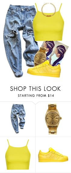 """BeeHive"" by dajvuuloaf ❤ liked on Polyvore featuring Levi's, Rolex, Topshop, adidas and ASOS"
