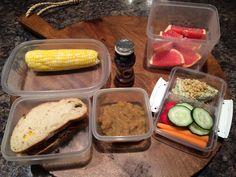 Kid's Lunchbox BBQ Venison on Sourdough sandwich; homemade cinnamon apple sauce.